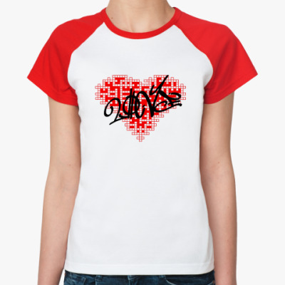 Женская футболка реглан Сердце-кроссворд