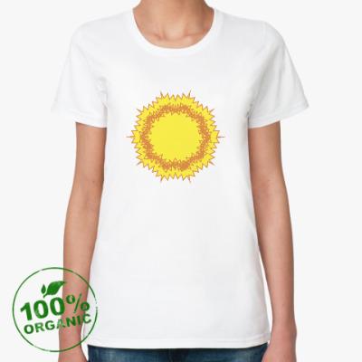 Женская футболка из органик-хлопка зигзагообразное Солнце