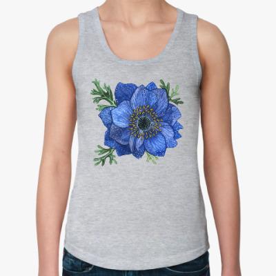 Женская майка Синий цветок анемоны