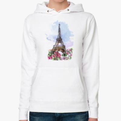 Женская толстовка худи Эйфелева башня - Париж