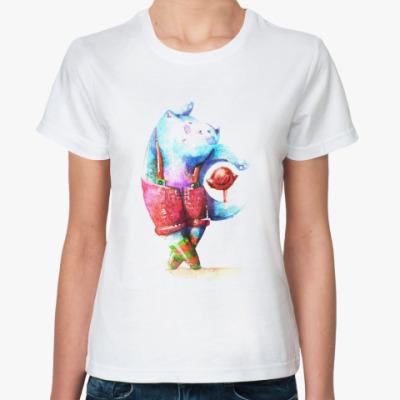 Классическая футболка Акварельный кот