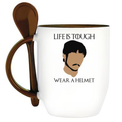 Кружка с ложкой  Wear a helmet