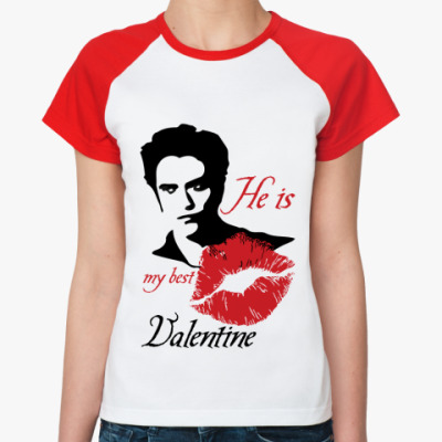 Женская футболка реглан My best Valentine