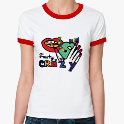 Женская футболка Ringer-T Губы. Street art.