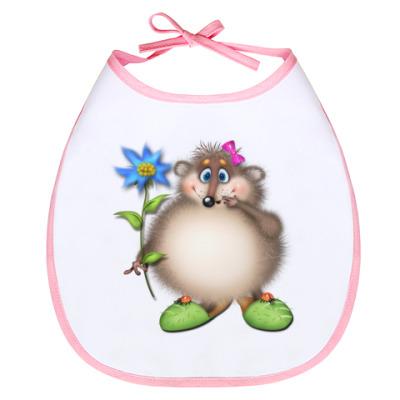 Слюнявчик Ёжик с цветком