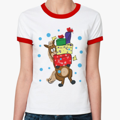 Женская футболка Ringer-T Новогодняя лошадь с подарками