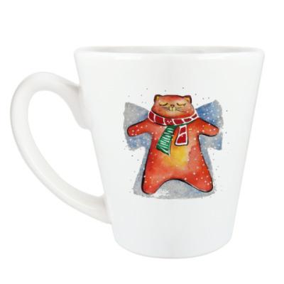 Чашка Латте Снежный Кот