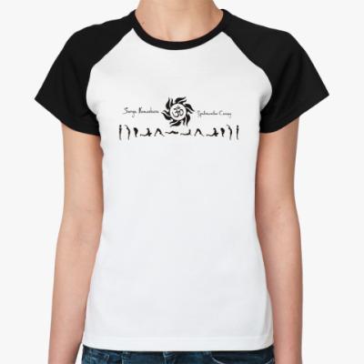 Женская футболка реглан Ом и Сурья Намаскар