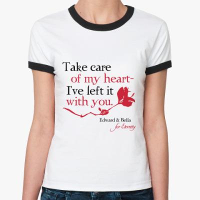 Женская футболка Ringer-T Take care