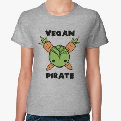 Женская футболка Веган пират