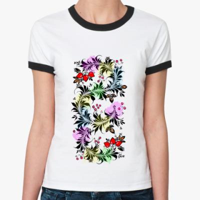 Женская футболка Ringer-T Разноцветная хохлома