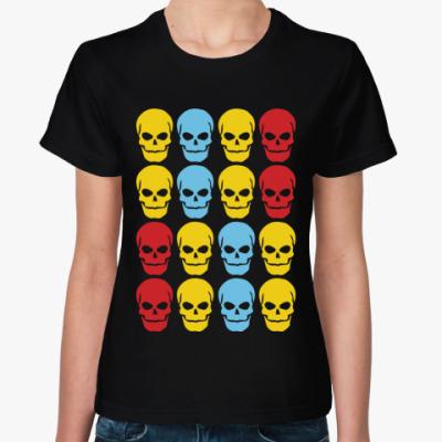 Женская футболка Цветные черепа