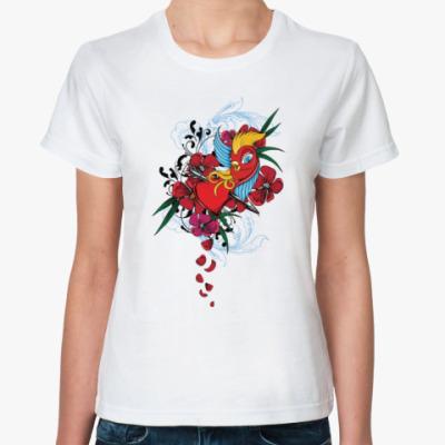 Классическая футболка Птичка и сердце со стрелой