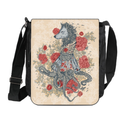 Сумка на плечо (мини-планшет) Волк-девушка-осьминог