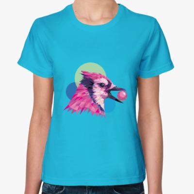 Женская футболка Розовая птица
