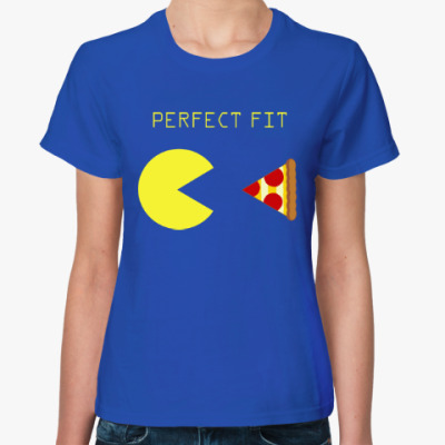 Женская футболка Пакмен и пицца