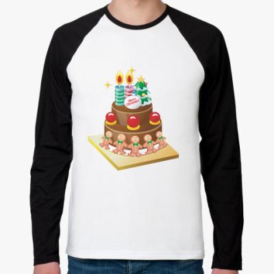 Футболка реглан с длинным рукавом Рождественский торт