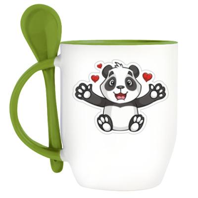 Кружка с ложкой ДругВокруг Панда