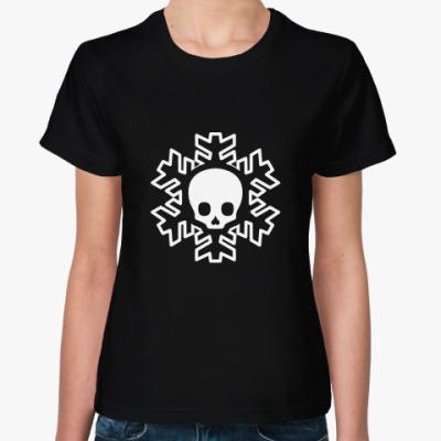 Женская футболка Cнежинка skull!
