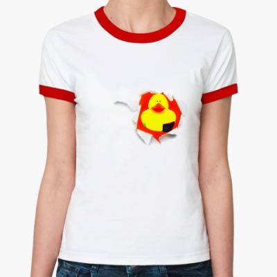 Женская футболка Ringer-T Уточка вместо сердца
