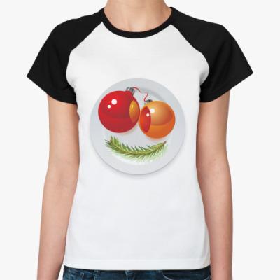 Женская футболка реглан Новогодняя рожица