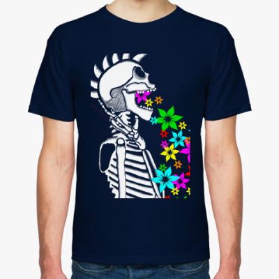 Футболка Скелет с цветами