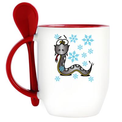 Кружка с ложкой Новогодняя змея