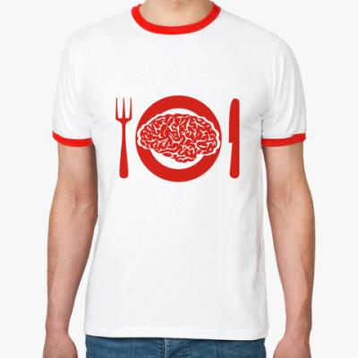 Футболка Ringer-T Мозги на обед.