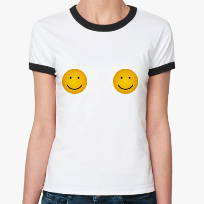 Женская футболка Ringer-T Улыбающаяся грудь
