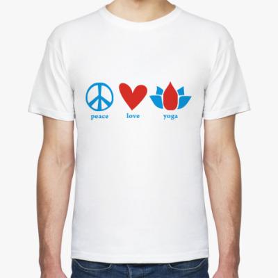 Футболка  'Peace, love, yoga'