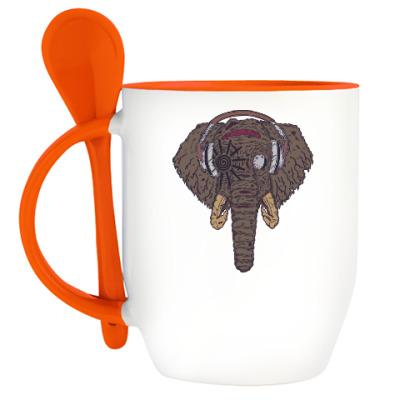 Кружка с ложкой Слон в наушниках