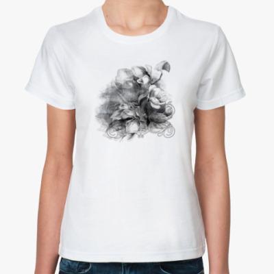 Классическая футболка Акварель черно-белый