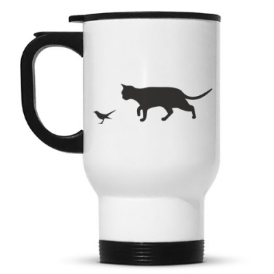 Кружка-термос Кошка с птичкой