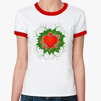 Женская футболка Ringer-T Heart Flower