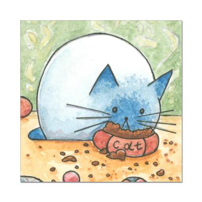 Наклейка (стикер) Котик кушает корм