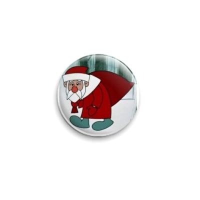 """Значок 25мм  """"Дед Мороз"""""""