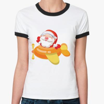 Женская футболка Ringer-T Дед Мороз к нам мчится