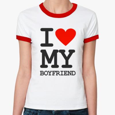 Женская футболка Ringer-T I love my boyfriend