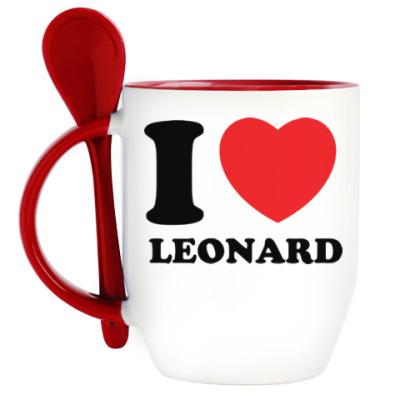 Кружка с ложкой Люблю Леонарда