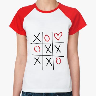 Женская футболка реглан Крестики-нолики