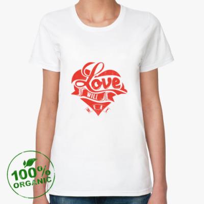 Женская футболка из органик-хлопка Love will heal