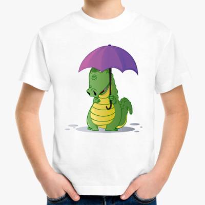 Детская футболка Крокодильчик с зонтиком