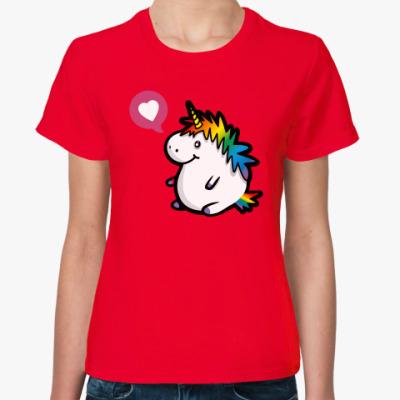 Женская футболка Толстенький единорог