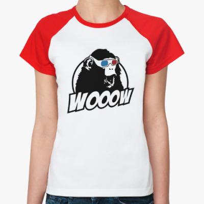 Женская футболка реглан Обезьяна - ух ты!