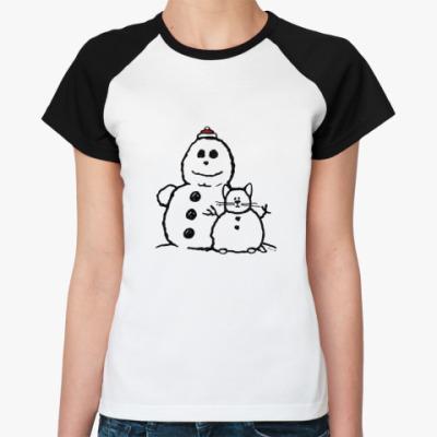 Женская футболка реглан Снеговики (женская)