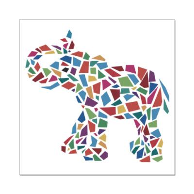 Наклейка (стикер) Слон - мозаика