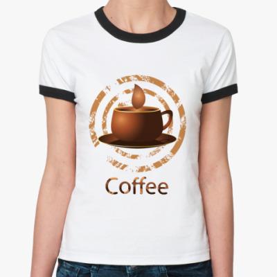Женская футболка Ringer-T coffee