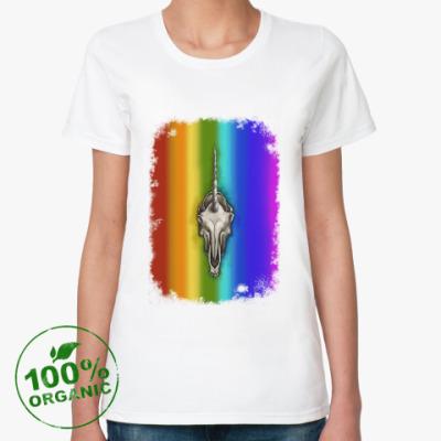 Женская футболка из органик-хлопка Череп единорога