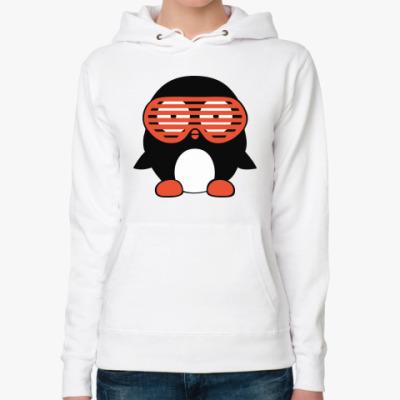 Женская толстовка худи Пингвин в очках