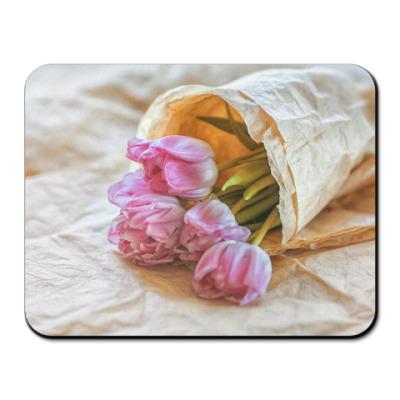 Коврик для мыши тюльпаны в свёртке